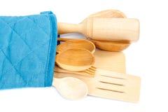 bakgrund isolerat vitt trä för kitchenware royaltyfri bild