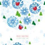 Bakgrund jul, snöflinga Royaltyfri Fotografi