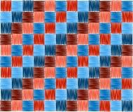 Bakgrund kvadrerar blå röd broderi Arkivfoto