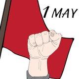 Bakgrund Maj 1st för arbets- dag Först med den drog flaggahanden Royaltyfri Fotografi