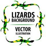Bakgrund med ödlor vektor illustrationer