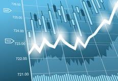 Bakgrund med affär, finansiella data och diagram Arkivfoton