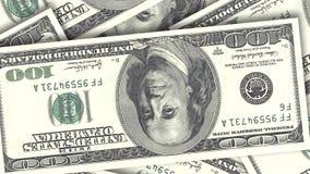 Bakgrund med amerikanska räkningar för pengar kontant pengarbakgrund Pappers- dollar för rotation stock video