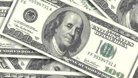 Bakgrund med amerikanska räkningar för pengar kontant pengarbakgrund snabb snurrande av pappers- dollar stock video
