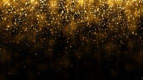 Bakgrund med att falla som är guld-, blänker partiklar Fallande guld- konfettier med magisk ljus härlig ljus bakgrund royaltyfria bilder