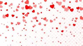 Bakgrund med att flyga röda hjärtor Hjärtabakgrund för designaffisch som gifta sig inbjudan, moderdag, valentindag, kvinnors dag Arkivbilder