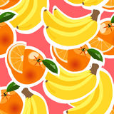Bakgrund med bananer, apelsiner och citroner Arkivbild