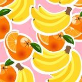 Bakgrund med bananer, apelsiner och citroner Arkivfoton