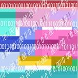 Bakgrund med binär kod och geometriska former av blåa färger stock illustrationer