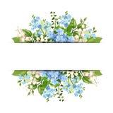 Bakgrund med blåa och vita blommor Vektor EPS-10 Arkivfoto