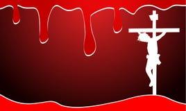 Bakgrund med blod och jesus christ stock illustrationer