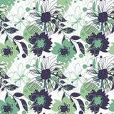 Bakgrund med blommor i gröna signaler stock illustrationer