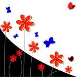 Bakgrund med blommor och fjärilar Royaltyfria Bilder