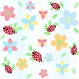 Bakgrund med blommor och nyckelpigan Vektor Illustrationer
