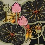 Bakgrund med blommor och sidor för en lotusblomma royaltyfri illustrationer