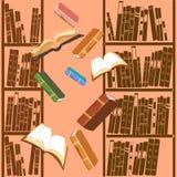 Bakgrund med bokhyllan Arkivbild