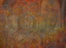 Bakgrund med buddistiska väggmålningar royaltyfria bilder