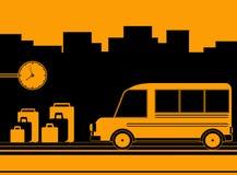 Bakgrund med bussstationen Royaltyfria Bilder