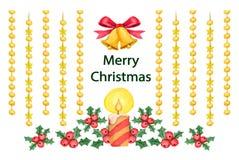 Bakgrund med dekorativa julbeståndsdelar Arkivbilder