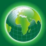 Bakgrund med den gröna jordklotsymbolen Royaltyfria Bilder