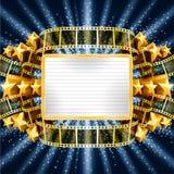 Bakgrund med den guld- baner- och filmremsan royaltyfri illustrationer