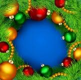 bakgrund med den julbollar och treen royaltyfri illustrationer