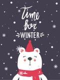 Bakgrund med den lyckliga björnen, snö och text Time för vinter vektor illustrationer