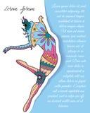 Bakgrund med den moderna dansaren på papper och ställe för text Arkivfoto