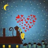 Bakgrund med den nattskyen, katten och saxofonen Royaltyfri Foto