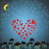 Bakgrund med den nattskyen, stjärnan och hjärta Arkivbild