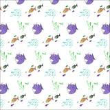 Bakgrund med den onda fisken stock illustrationer