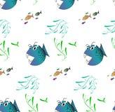 Bakgrund med den onda fisken vektor illustrationer