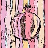 Bakgrund med den pastell stiliserade granatäpplet vektor vektor illustrationer