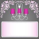Bakgrund med den rosa ljuskronan för inbjudningar Arkivbild