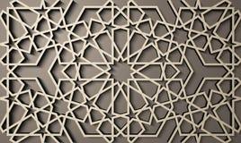 Bakgrund med den sömlösa modellen 3d i islamisk stil , arabisk geometrisk östlig prydnad, persiskt motiv stock illustrationer
