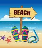 Bakgrund med den strandtecknet, flip och sjöstjärnan stock illustrationer