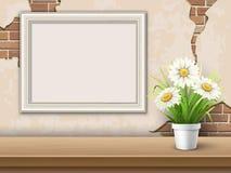 Bakgrund med den tabellramen och blomman Royaltyfria Foton