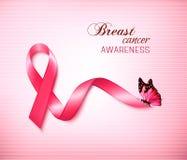 Bakgrund med det rosa den bröstcancerbandet och fjärilen Royaltyfria Bilder