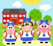 Bakgrund med djuret, tillbaka till skolan Royaltyfria Foton