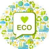 Bakgrund med ekologisymboler royaltyfri fotografi