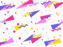 Bakgrund med en plan geometrisk design memphis i stilen av 80 ` s Beståndsdelar av stilbauhaus vektor stock illustrationer