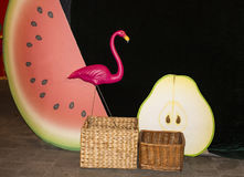 Bakgrund med en rosa flamingo på ett mörker - grön bakgrundsbakgrund Flamingo och vattenmelon Royaltyfri Foto