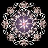 Bakgrund med en rund prydnad med rosa ädelstenar Royaltyfri Fotografi