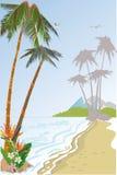 Bakgrund med en sandig strand med palmträd Royaltyfri Fotografi