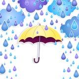 Bakgrund med ett gult paraply Royaltyfri Bild