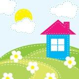 Bakgrund med ett hus för behandla som ett barn Arkivfoton