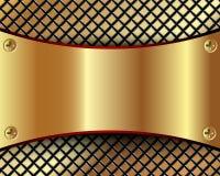 Bakgrund med ett metalliskt guld- pläterar och rastret Royaltyfri Fotografi