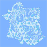 Bakgrund med ett skal i blått Arkivfoton
