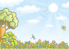 Bakgrund med ett träd och blommor stock illustrationer