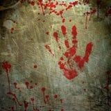 Bakgrund med ett tryck av en blodig hand stock illustrationer